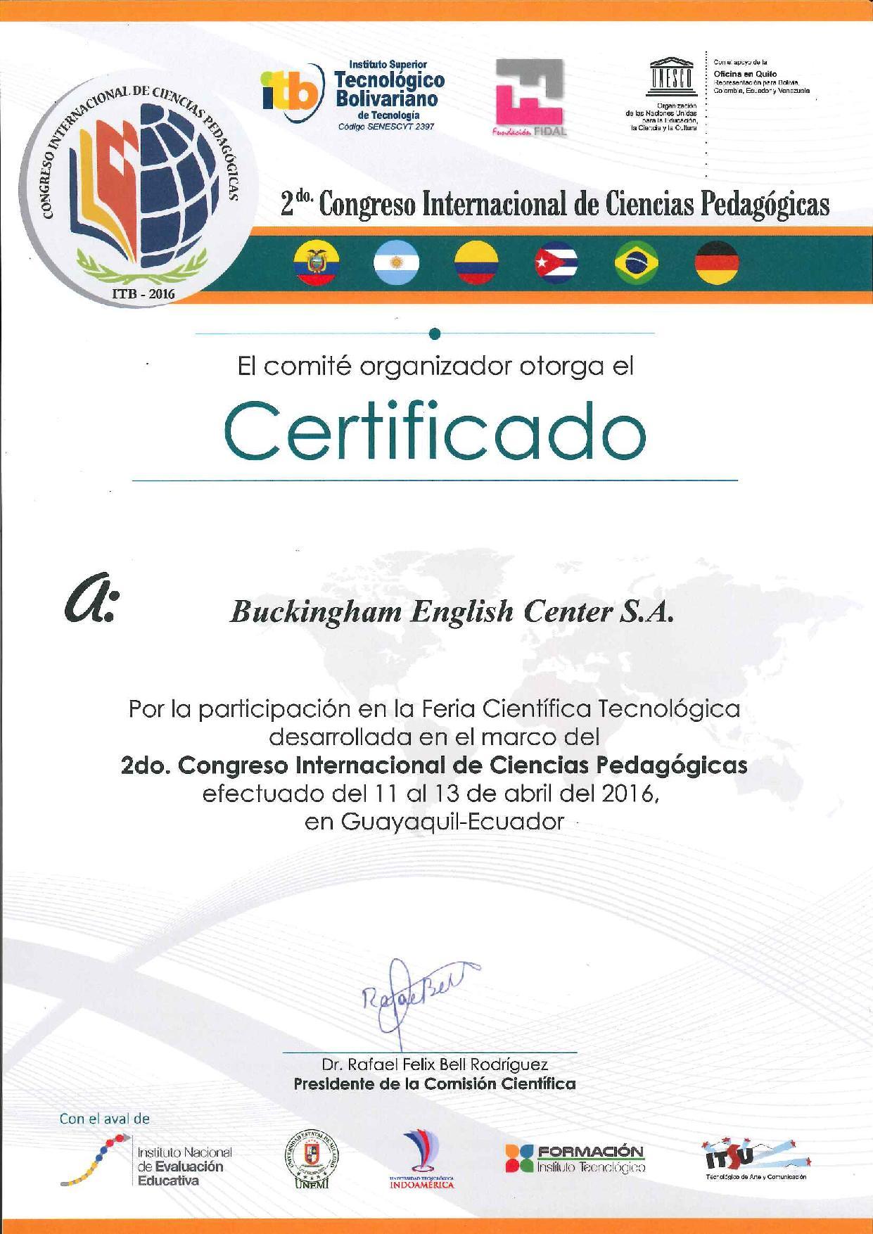 Buckingham en el Segundo Congreso Internacional de Ciencias Pedagógicas